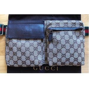 Authentic Gucci Web Monogram Canvas Brown Leather Fanny Pack Waist Belt Bag